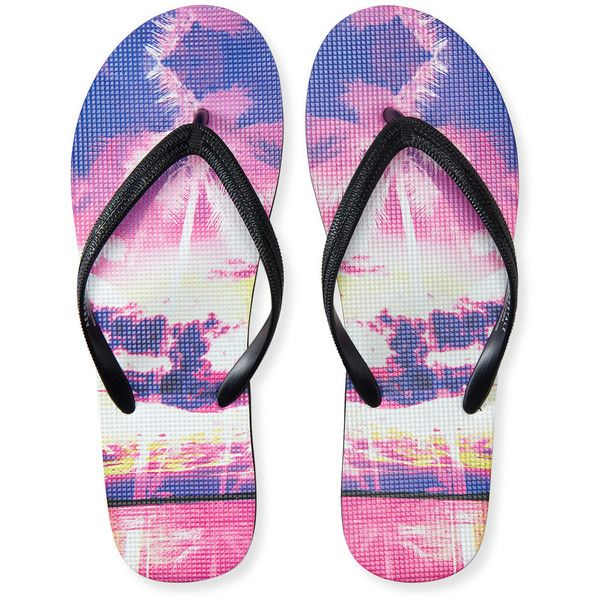 Aeropostale Hawaiian Sunset Flip-Flop found on Polyvore featuring shoes, sandals, flip flops, black, hawaiian shoes, beach footwear, hawaiian print shoes, black shoes and straw shoes