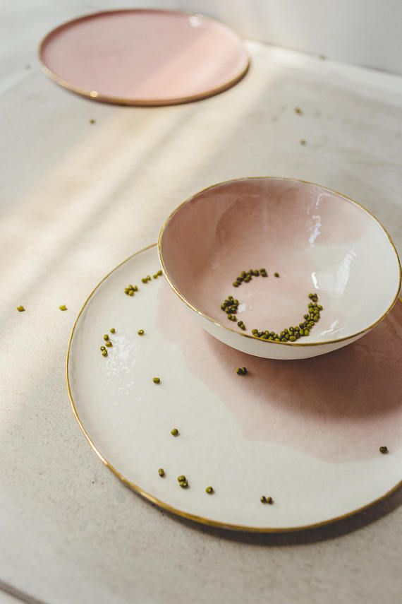 Ceramic Dinnerware,Pink Dish,Pink Ceramic Plate,Pink Ceramic Bowl,Modern Dinnerware,Dish Set Pottery,Dinner Plate,Dinner Set,Wedding Gift These fine white porcelain dishes with a softly fading pink color splash and a real gold rim are perfect for starting a new day with a delicious