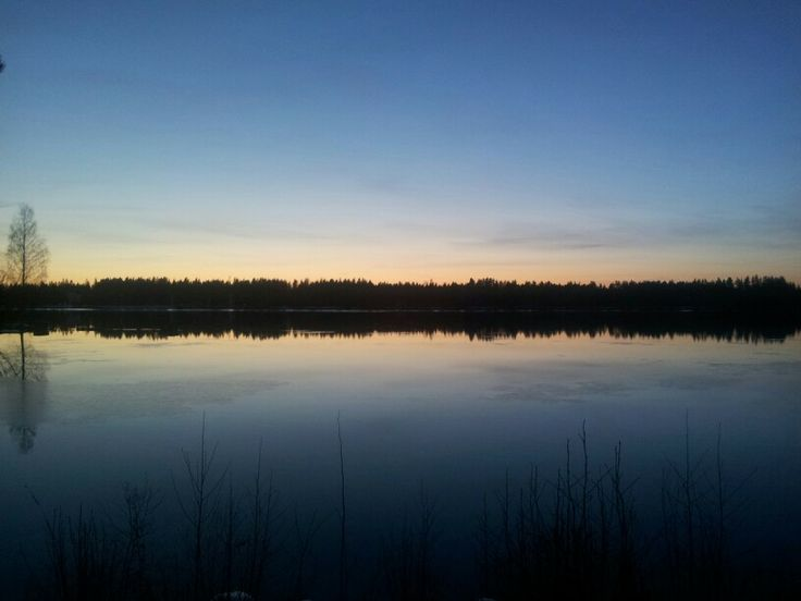 Sunset at river Vuoksi Imatra