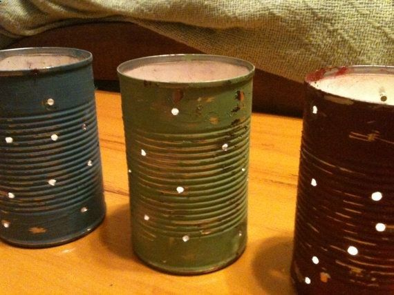 Shabby Chic Primitive Decor Indoor Outdoor Tin by sisterhooddesign, $8.00 (Rust old cans outside in rain....drill holes...paint primitive colors and use outside in summer with tea lights under them for a soft glow)