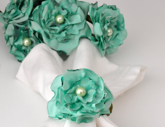 Aquamarine Napkin Rings by Satin Fabric Flowersset of 6 by DOGAART, $33.00