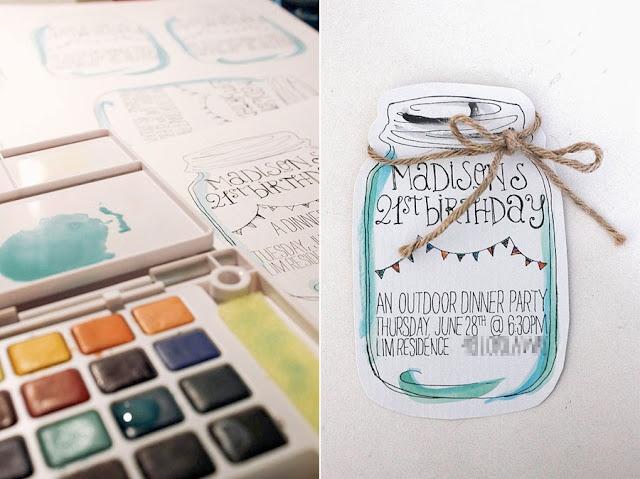 hand-drawn + watercolored mason jar invitation