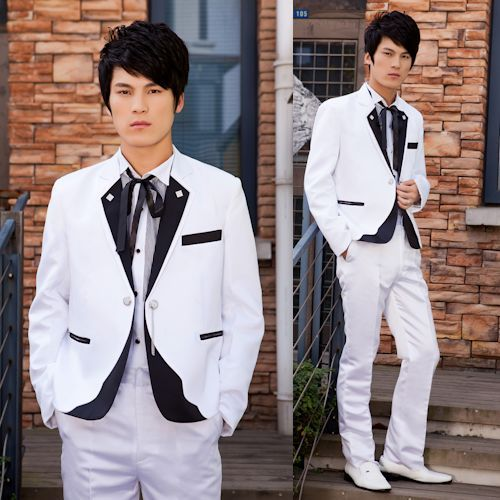 White and Black Casual Dress Hipster Prom Wedding Best Man Suits Men SKU-123405