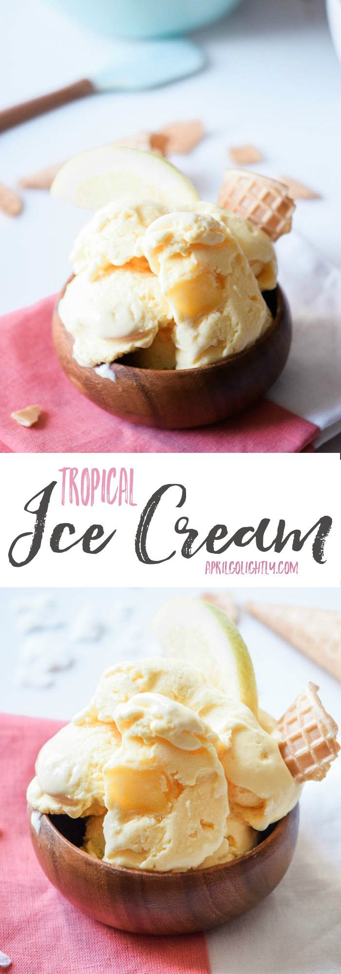 Easy Homemade Vegan Tropical Creamy Ice Cream Recipe with coconut milk using an ice cream maker machine - extremely healthy perfect for kids and adults