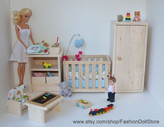 """Doll nursery wardrobe in 1/6 scale (Barbie, Happy Family, Barbie Baby, Pregnant Barbie, and other 4"""" and smaller playscale figures)."""