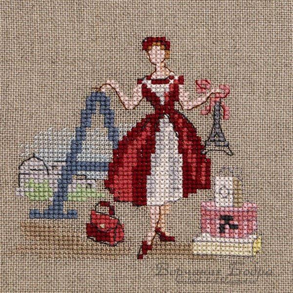 point de croix lettre A parisienne - cross stitch letter A with parisian woman, tour eiffel by Les brodeuses parisiennes