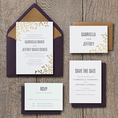 Make These Foil Stamped Leaves Wedding Invitations Your Own At Paper Source