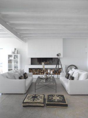 un salon blanc et reposant