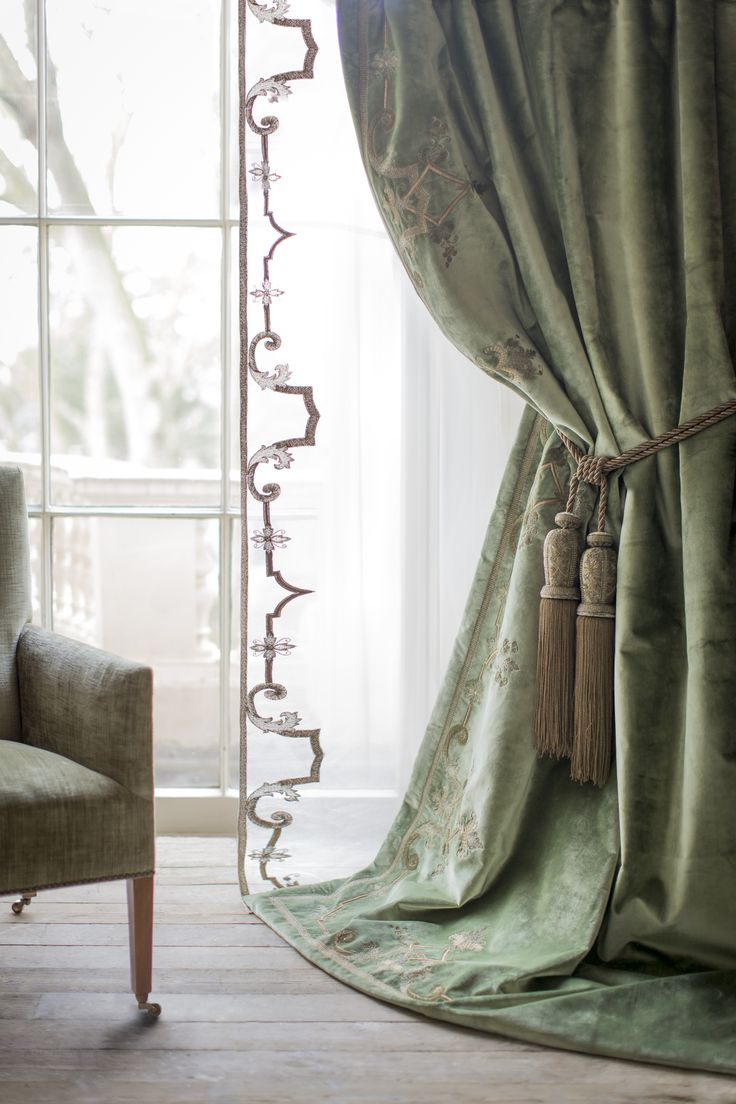 Claudia Tie-back is holding up our beautiful Cellini curtain. #handembroidered #tiebacks #luxury #couture