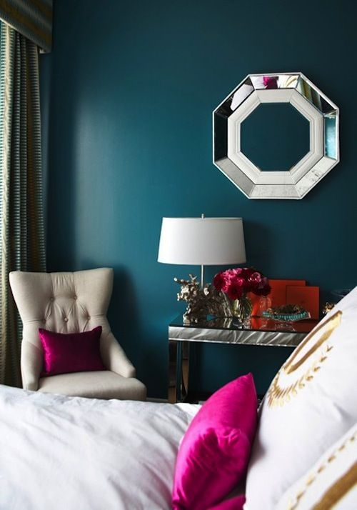 Delightful Deep #teal #bedroom Wall #color With Pops Of Fuchsia. Loving The Octagonal