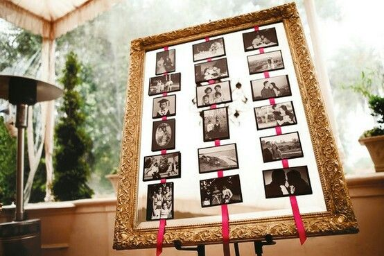 Baby shower photo display idea