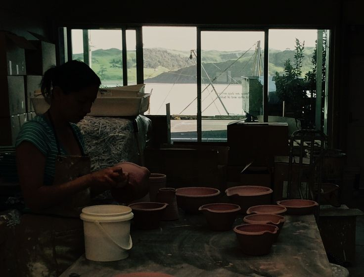 Our Tony Sly Pottery industrial workshop with a million dollar view! on a sunny Raglan day!