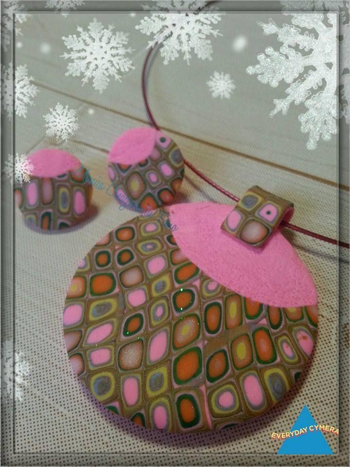 Parure collana ed orecchini a perno realizzati in pasta FIMO