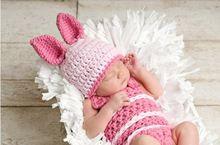 Doprava zdarma, Dětská háčkování Pink Rabbit Beanie Hats + Kombinézy Kostým Set Newborn fotografie rekvizity (Čína (pevninská část))