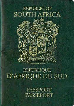 S.A. passport, depicting the old coat of arms.