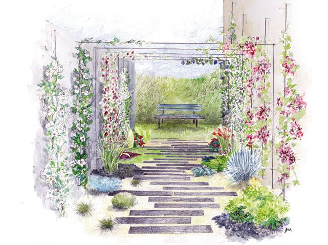 Coincé entre deux murs, ce petit bout de jardin longiligne est difficile à aménager. En jouant...