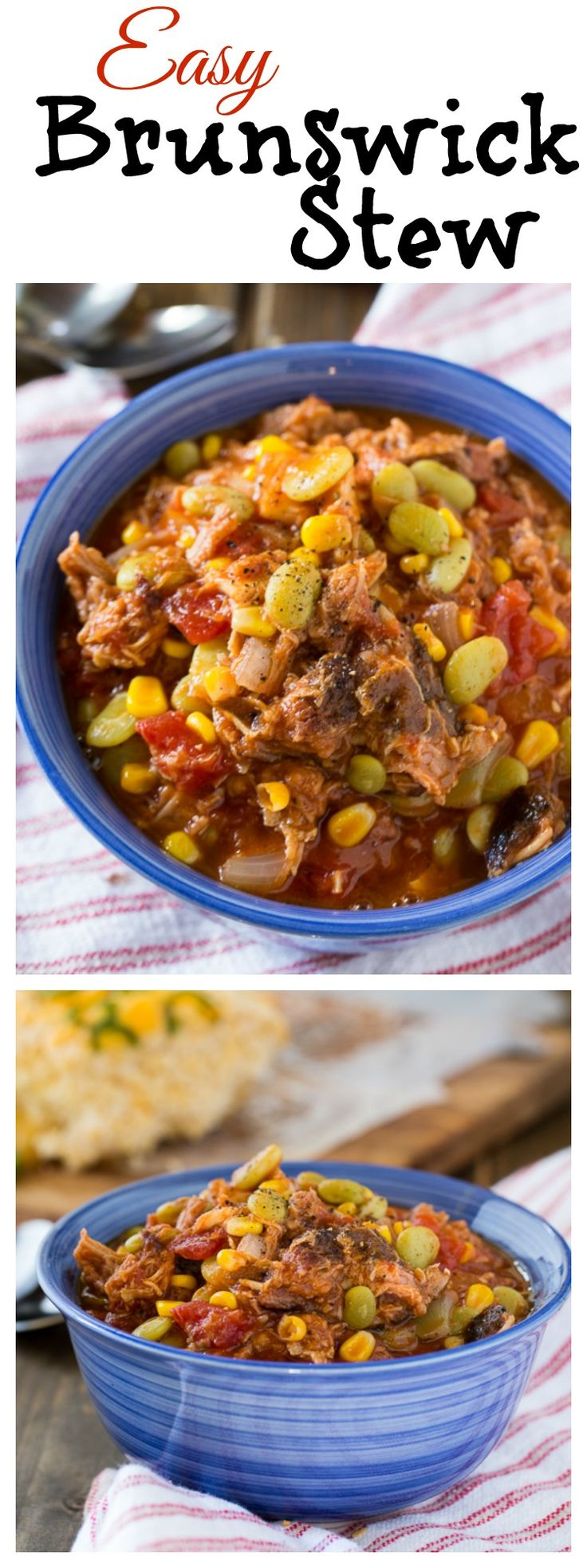 Easy Brunswick Stew with pulled pork and chicken. Can also use leftover Thanksgiving turkey.