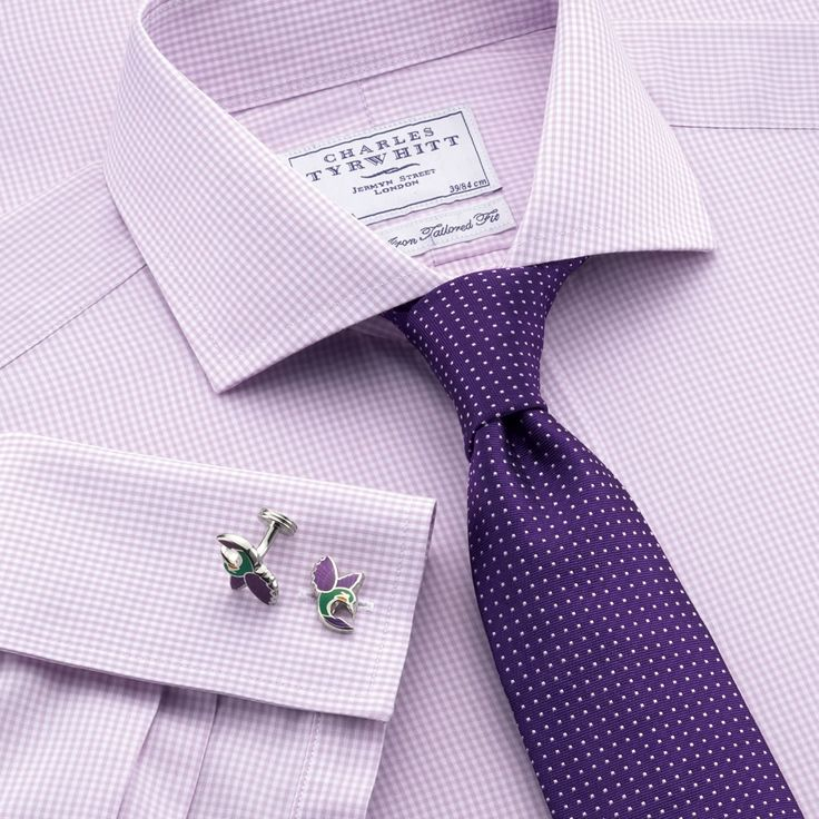 Lilac mini gingham non-iron tailored fit dress shirt | Tailored fit dress shirts from Charles Tyrwhitt | CTShirts.com
