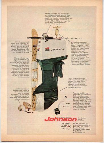 1970 Vintage Ad Johnson Sea Horse 60 Hp Outboard Motors