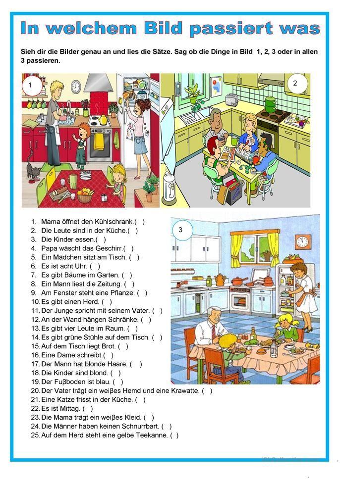 Bildbeschreibung - in der Küche   Deutsch lernen, Deutsch ...