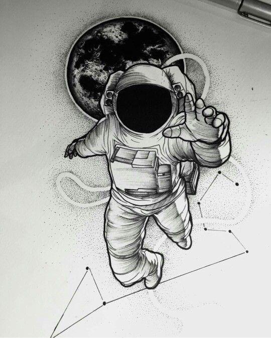 Tatuagem Astronauta; Astronaut Tattoo; Constelação de Escorpião; Constellation Scorpio; Planeta; Planet; Desenho; Designer.: