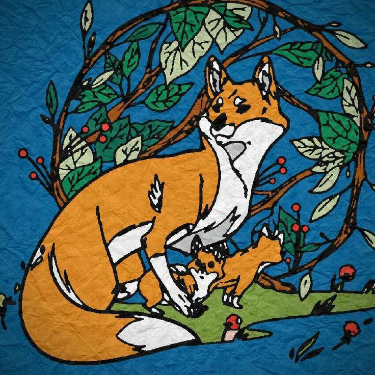 Fox Colorfy Animal paintings, Kids rugs, Colorfy