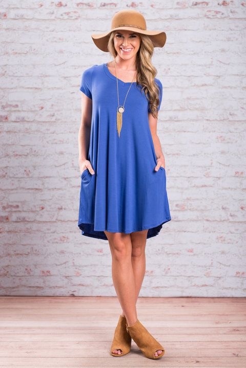 When the skies are clear and the sun is out you are going to want this dress! It's so chill and comfy! The material is so soft and stretchy! It's also 96% bamboo!! But the spandex is what keeps it so stretchy! You can throw this dress on so easily with some trendy sandals or booties and a fun necklace with a pop of color and you're ready to go! Plus, you know a dress with pockets is going to be a fast favorite!