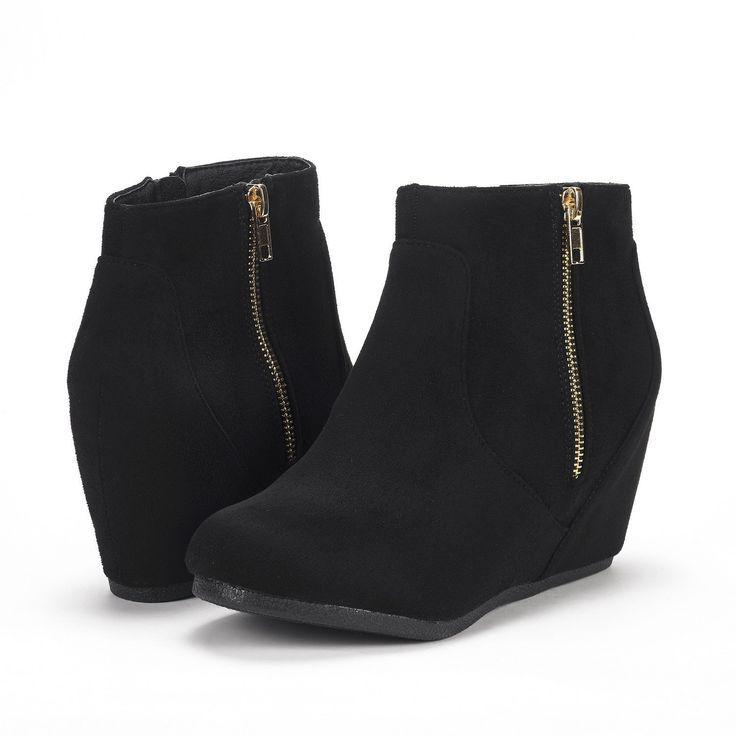 all black wedge booties