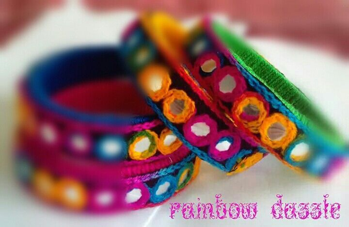 Handmade multicoloured ethnic embroidered bangles