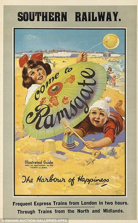 Vintage railway posters of UK seaside destinations - Ramsgate