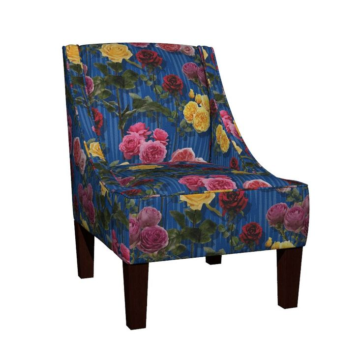 Venda Sloped Arm Chair featuring Blue roses by angelfraser   Roostery Home Decor