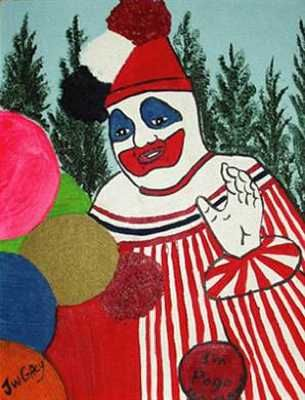 Pogo the Clown  By John Wayne Gacy    John Gacy is responsible for the death of at least 33 young men and boys. He took up art while waiting to be executed. This shows him as his alter ego, Pogo the clown, entertaining children.