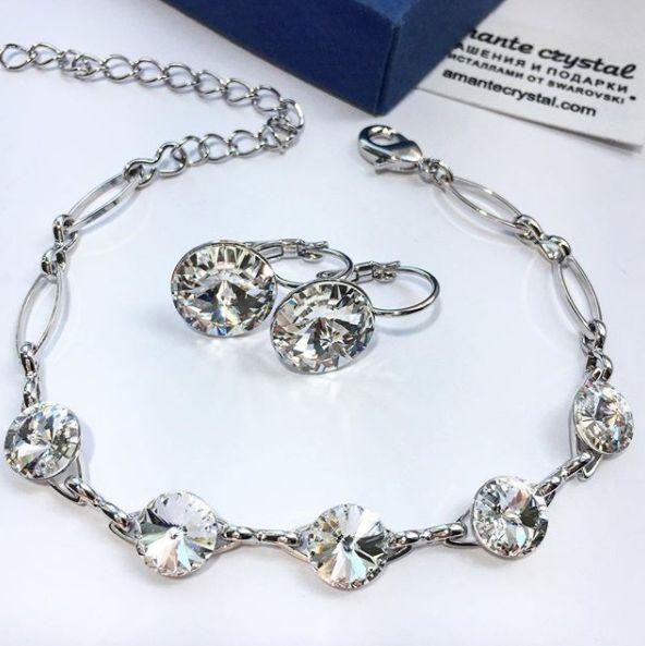 Серьги Риволи 12мм с кристаллами #сваровски и браслет с кристаллами 8мм, комплект 3919₽ ⚜Мы находимся в Волгограде, осуществляем доставку по всей России и СНГ ⚜Оформите заказ за 5 мин в сообщения, WatsApp/Viber +7903478419 или на сайте ссылка в шапке профиля! ДОСТАВКА почтой по РФ 5-6 дней! Приятных покупок!  #amantecrystal #swarovski #сваровски