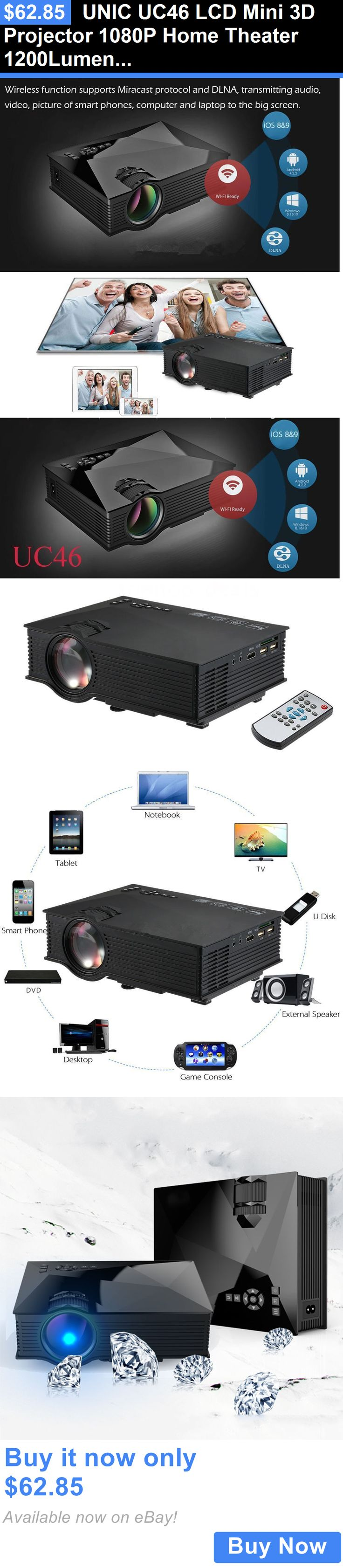 Home Theater Projectors: Unic Uc46 Lcd Mini 3D Projector 1080P Home Theater 1200Lumens Wifi Hdmi Tv Usb A BUY IT NOW ONLY: $62.85