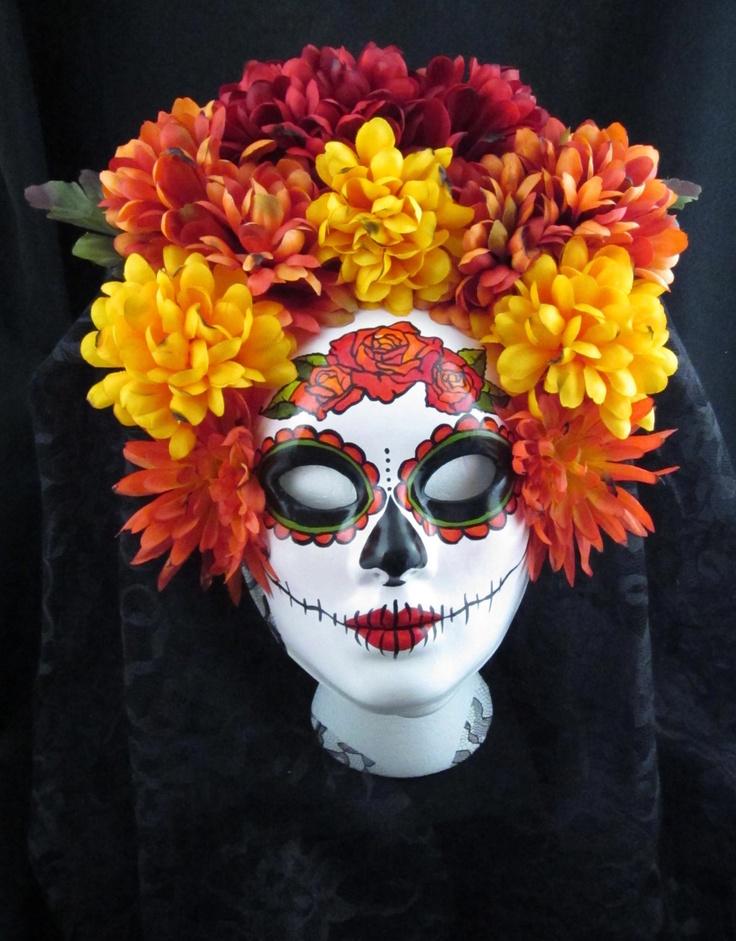 Autumn Harvest Mask for Day of the Dead/Dia de los Muertos/Halloween/Masquerade/Costume. $199,00, via Etsy.