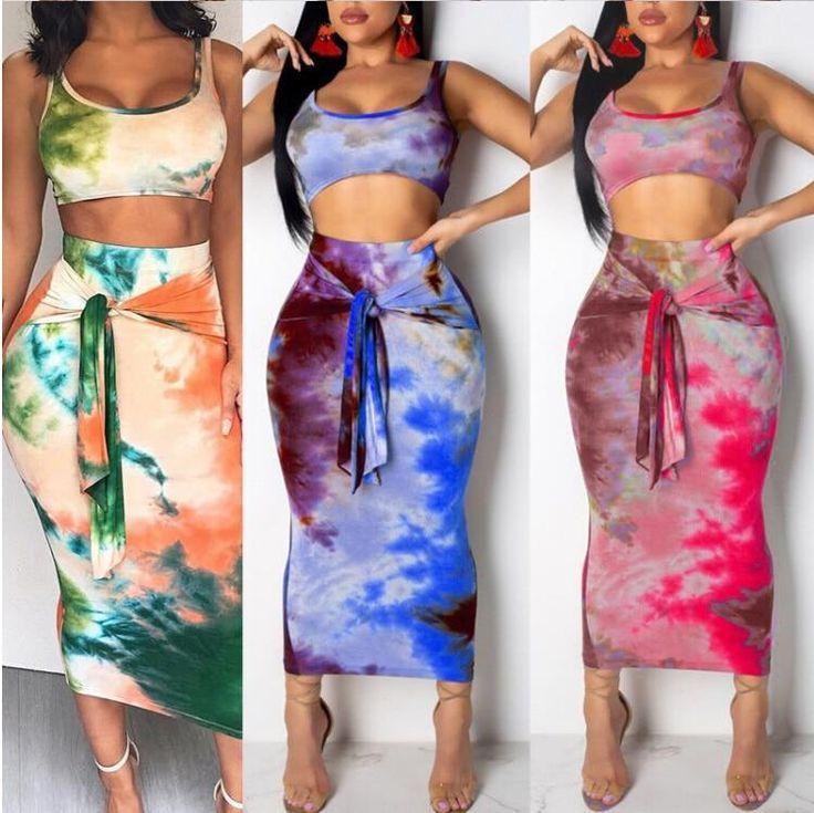 Women 2PCS Skirt Sets Bandage Crop Top Denim Bodycon Pencil Mini Skirt Clubwear