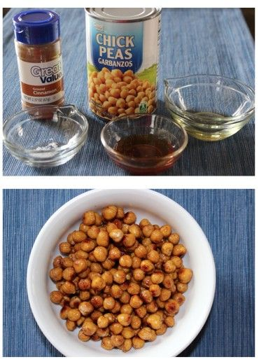 Honey Cinnamon Roasted Chickpeas. 15 oz can Great Value Chickpeas, 1 t olive oil, 1 T honey, 1/2 t cinnamon, pinch of salt. Only $0.27 per serving with 5 grams of protein and fiber! Preheat oven to 375. Drain and rinse chickpeas, towel dry. Spread evenly on baking sheet lined with foil. Bake for 30-40 minutes until crunchy. Remove and toss with honey, oil cinnamon and salt mixture. Return back to baking sheet spreading evenly for 5-10 minutes for caramelized effect being careful not to burn.