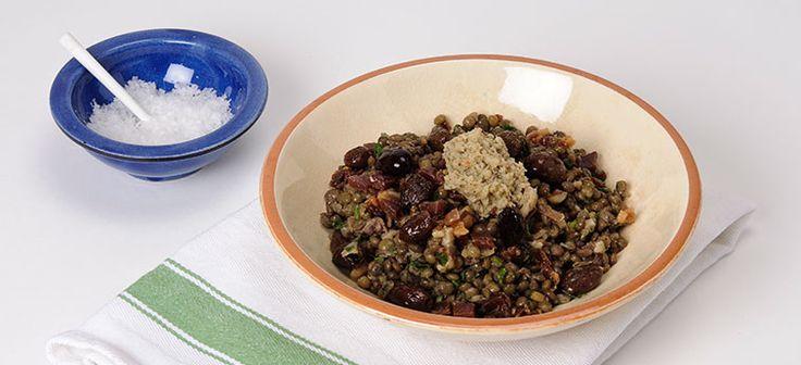 Lentils with Prosciutto & Artichoke Bruschetta
