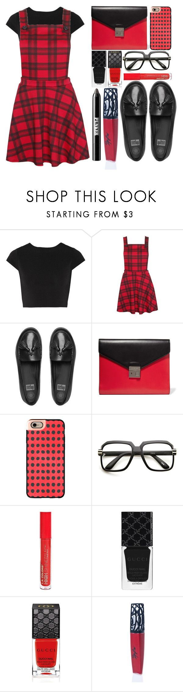 """Schoolgirl Style"" by juliehalloran ❤ liked on Polyvore featuring Alice + Olivia, FitFlop, Michael Kors, Casetify, ZeroUV, L.A. Colors, Gucci, The Lip Bar and Ardency Inn"