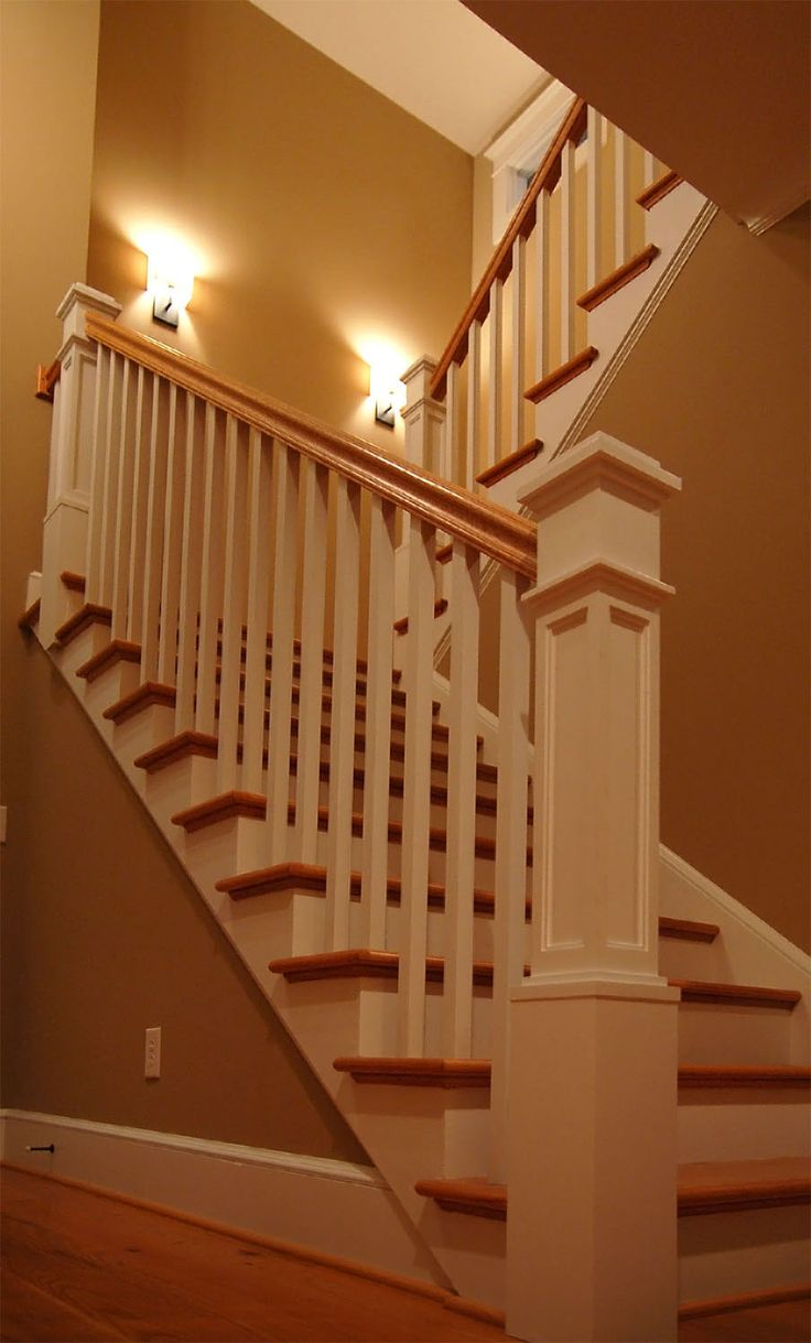 Best Painted Newel Posts And Rails Stained Treads And Handrail 400 x 300