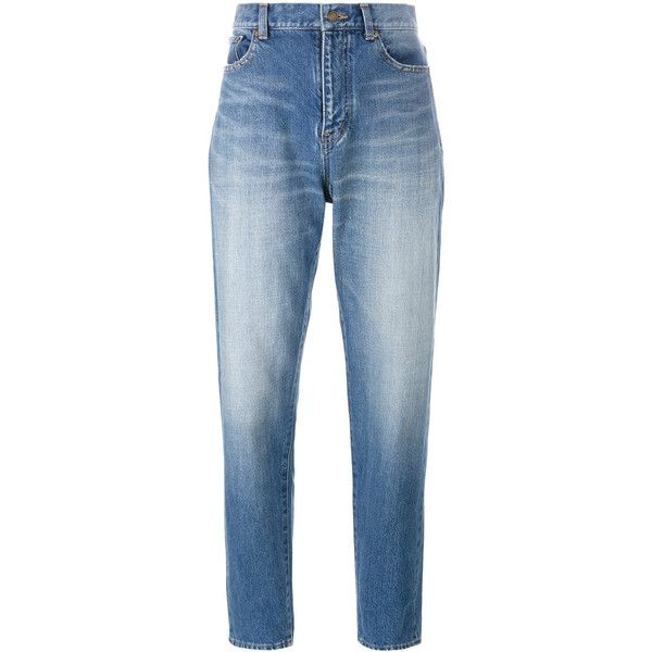 Saint Laurent Baggy Jeans ($370) ❤ liked on Polyvore featuring jeans, navy, straight leg jeans, grunge jeans, baggy boyfriend jeans, navy blue jeans and boyfriend fit jeans