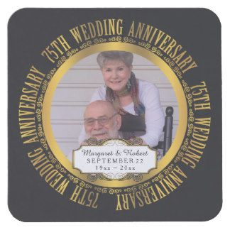 75th Wedding Anniversary Photo Names Date Square Paper Coaster
