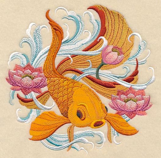 Japanese Goldfish design (M9131) from www.Emblibrary.com