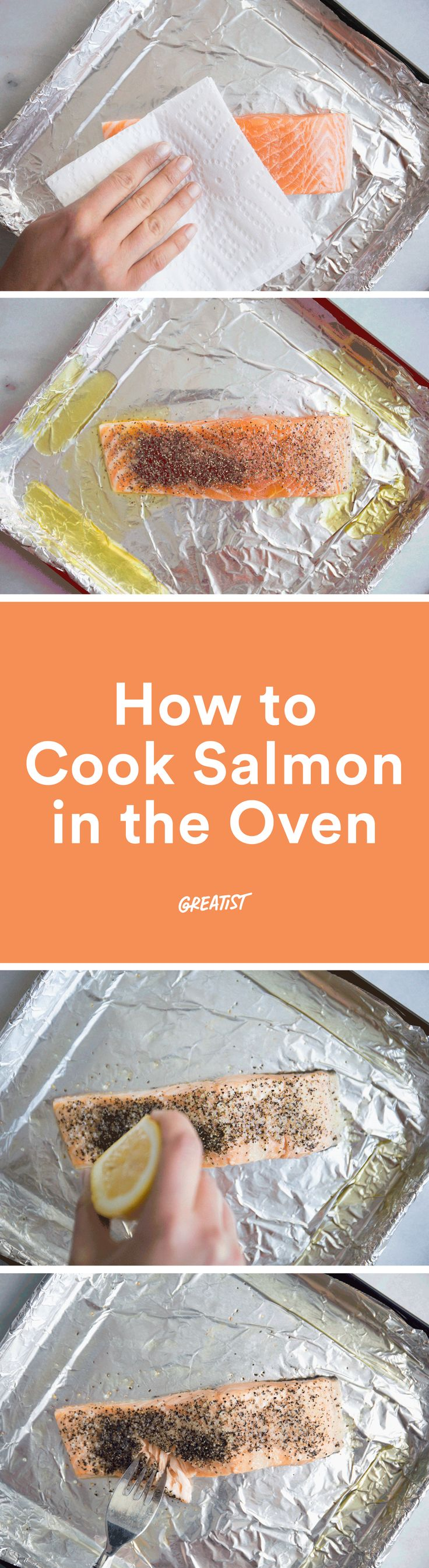 This recipe takes minimal effort, time, and cleanup. http://greatist.com/eat/how-to-cook-salmon-in-the-oven
