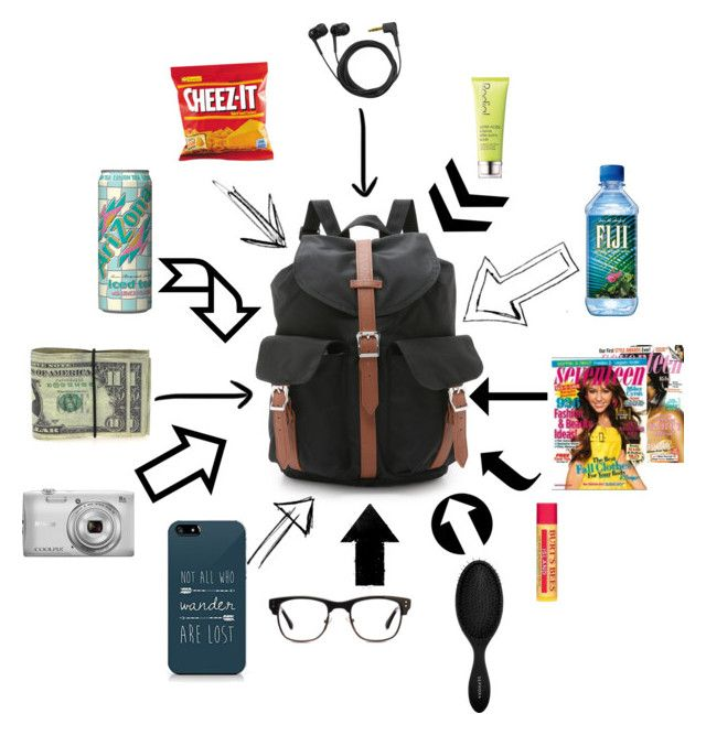 """""""What to Bring on a Road Trip"""" by arowenssymphony ❤ liked on Polyvore featuring Herschel Supply Co., Burt's Bees, GlassesUSA, Rodial, Sephora Collection, Sennheiser, Arizona and Nikon"""