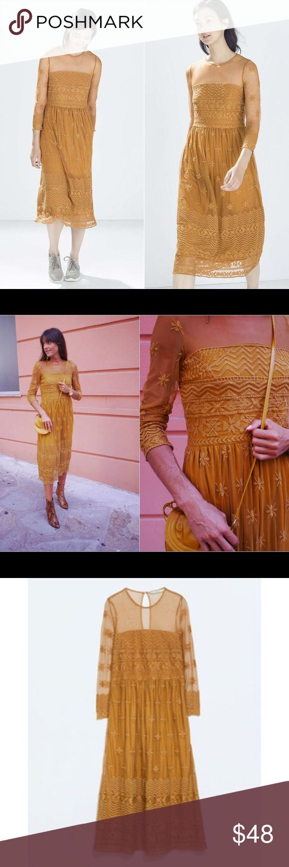 104 best imma bridesmaid beotch images on pinterest mustard zara mustard yellow embroidered lace midi dress ombrellifo Image collections