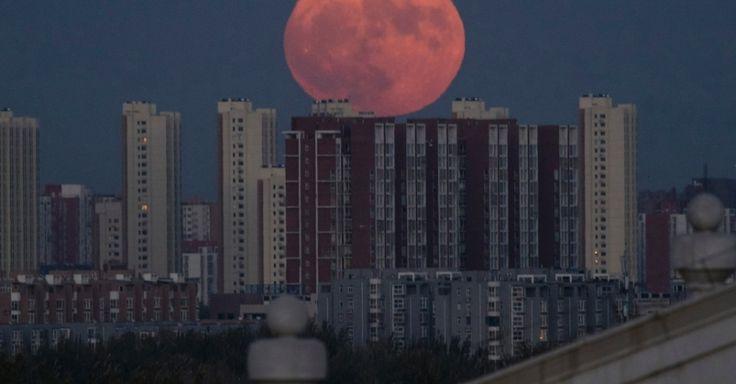 A superlua é registrada no entardecer de Pequim. As pessoas se dirigiram a coberturas de prédios, fortes antigos e praias para testemunhar o fenômeno, o maior desde 1948, com a Lua a 356.509 km de distância da Terra