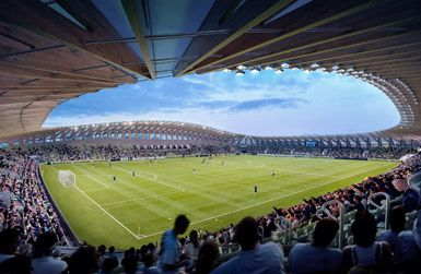 Forest Green Rovers stadium by Zaha Hadid Architects in Stroud, United Kingdom