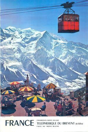 FRANCE CHAMONIX-MONT-BLANC - TELEPHERIQUE DU BREVENT FACE AU MONT-BLANC - affiche originale (1972)