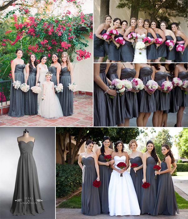 grey fall wedding ideas - charcoal grey bridesmaid dresses for summer 2014